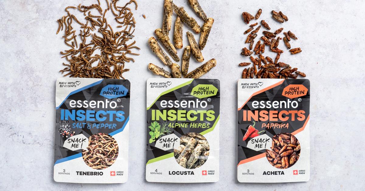 Gewürzte Mehlwürmer, Hausgrillen und Wanderheuschrecken
