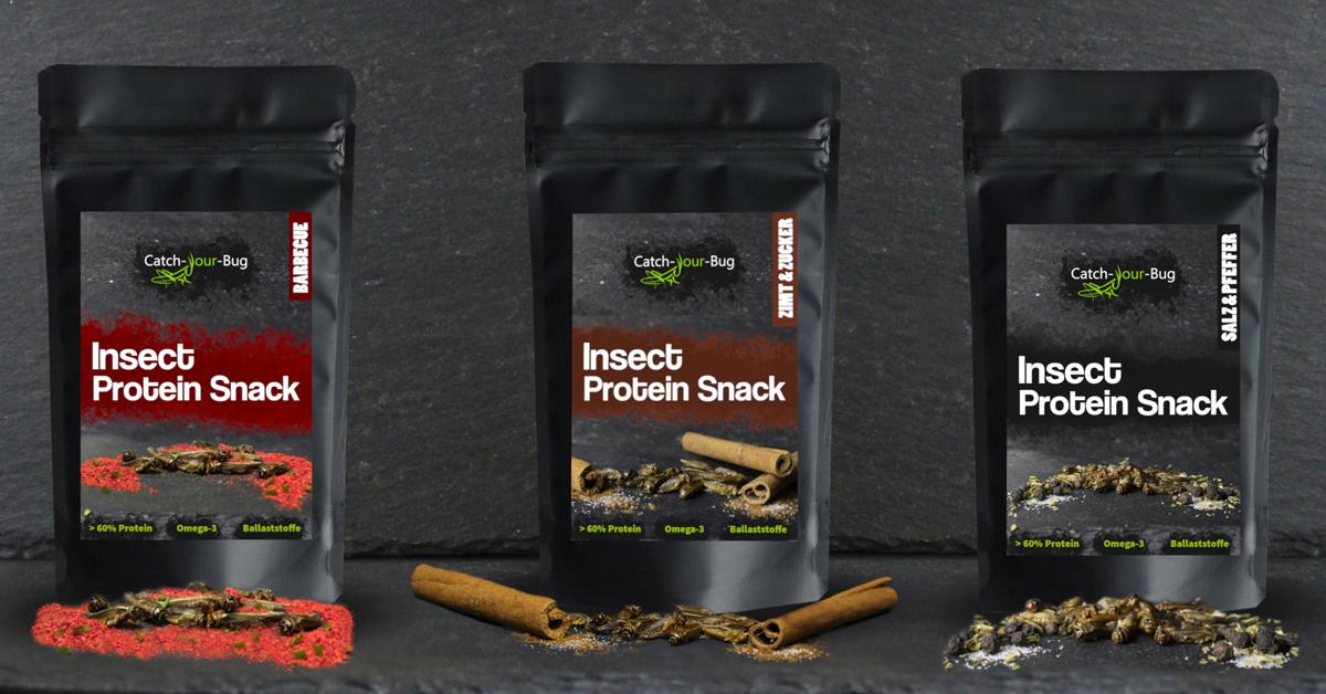 Die Snackinsekten von Catch Your Bug gibt es in drei Geschmackssorten.